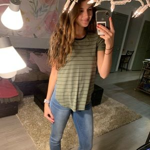 Mudd olive green striped top